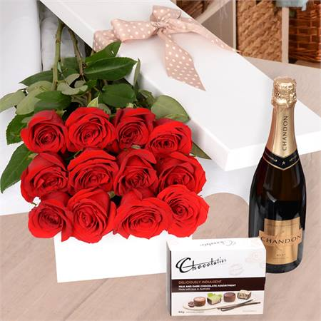 Valentine's Day Flame with Chocs & Chandon