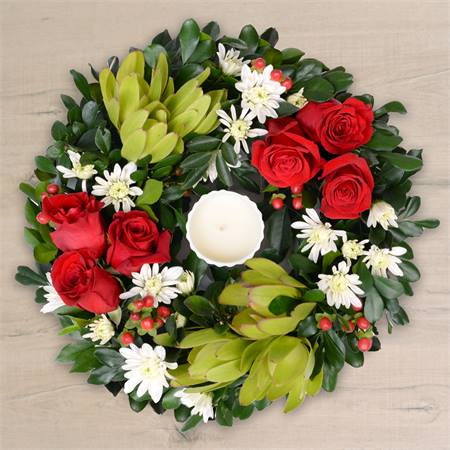 Christmas Joy Wreath with Candle
